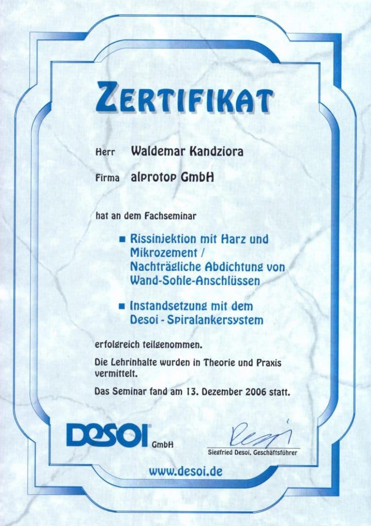 Zertifikat Kandziora