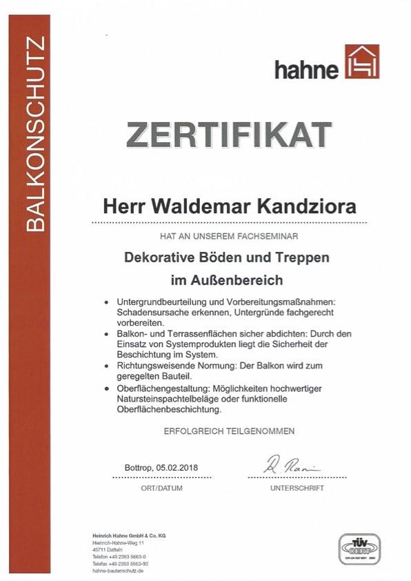 Zertifikat Dekorative Böden und Treppen