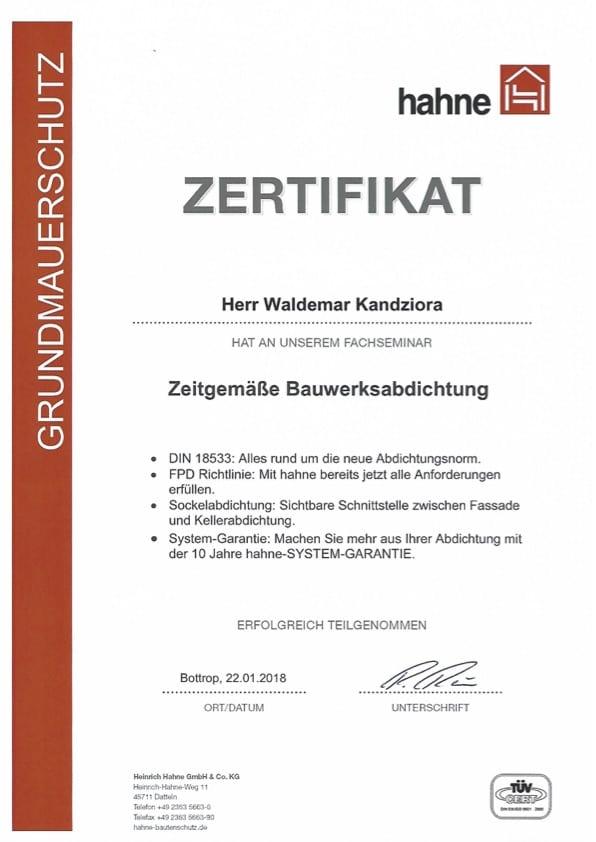 Zertifikat Zeitgemäße Bauwerksabdichtung