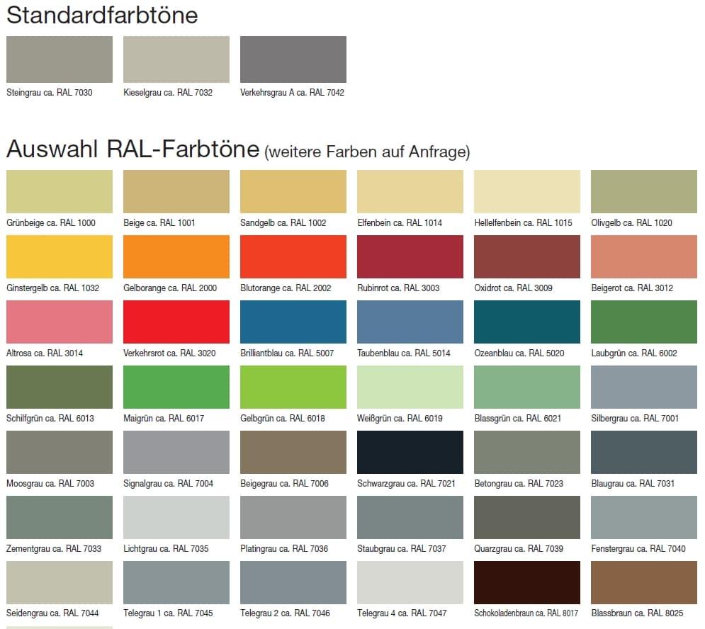 Standardfarbtöne für Industrieböden